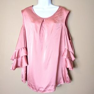 New York & Company sz XL rose pink ruffle blouse